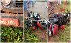 Grave acidente entre Deodápolis e Lagoa Bonita deixou moto totalmente destruída