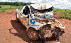 Veículo com placas de Jateí capota no Distrito de Guassulândia em Glória de Dourados