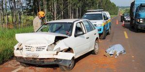 Homem morre após colisão entre carro e caminhão caçamba na MS-276, em Ivinhema