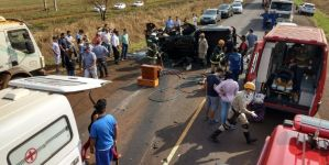 Três pessoas de uma mesma família ficam feridas em acidente na BR 463 em Dourados