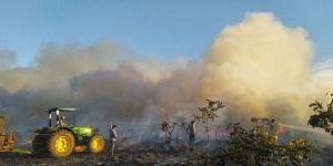 Curto-circuito em colheitadeira causou incêndio em fazenda da Embrapa